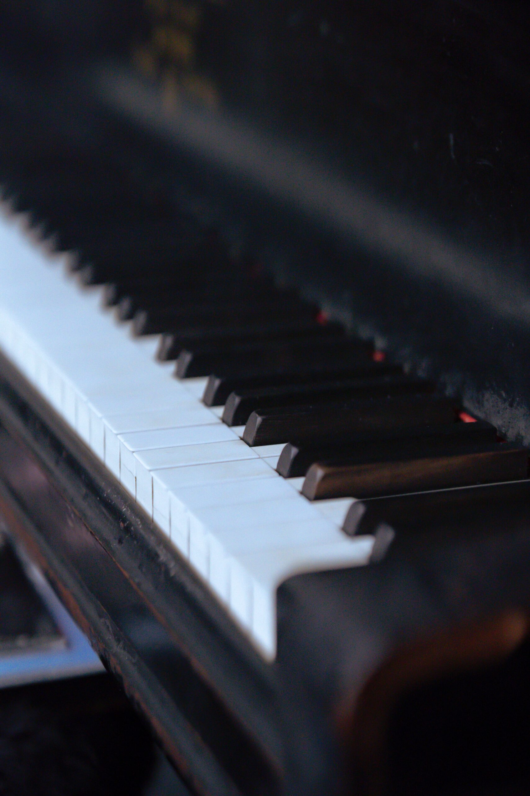 Black wooden piano for playing classical music