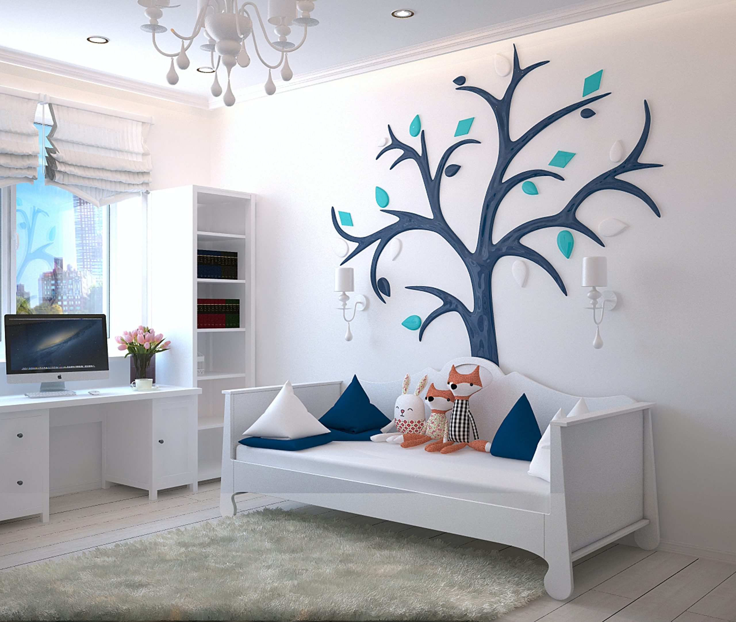 Small kids bedroom with white walls and tree decal